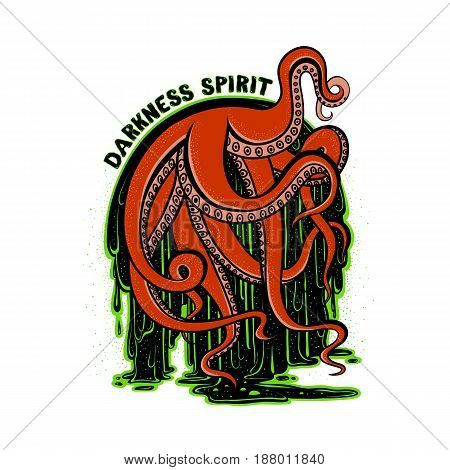 Vector illustration print art red tentacles of the monster octopus in the flow of luminescent glowing green radioactive sludge. Drawing creepy cephalopod mollusk