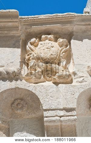 Detail of a historical palace of Cisternino. Puglia. Italy.