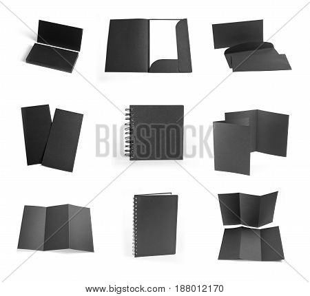 Set of black elements for corporate identity design on a white background