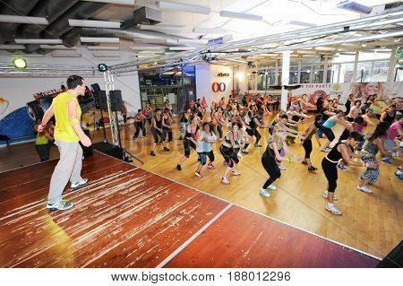 People Dancing During Zumba Training Fitness At A Gym