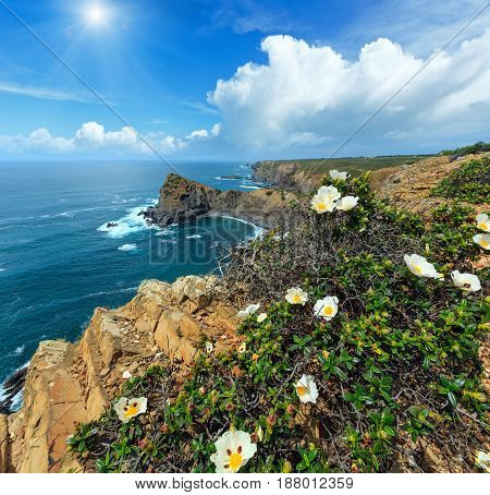 Summer Atlantic Ocean Sunshiny Coastline (algarve, Portugal).