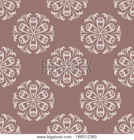 Seamless pattern with flower element. Brown and beige abstract wallpaper. Vector illustration