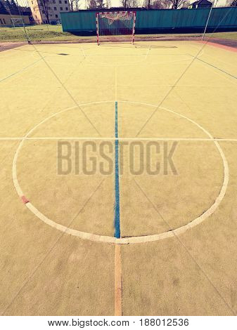 Circle In Middle Of Court. Empty Outdoor Handball Playground, Plastic Light Green Surface