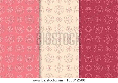 Seamless pattern with flower element. Red abstract wallpaper. Vector illustration