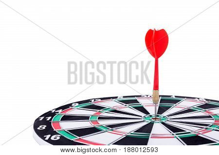 Close Up Shot Red Dart Arrow On Center Of Dartboard, Metaphor To Target Success, Winner Concept, Iso