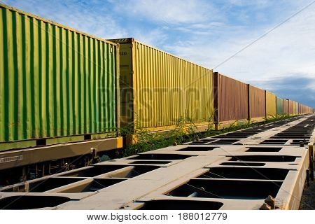 train with container shipping box delivery goods.