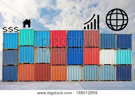 container with business icons for import export .