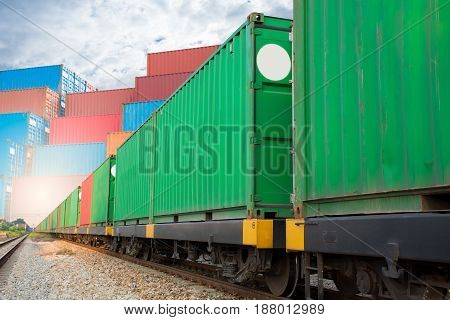 train with container import export goods to customer.