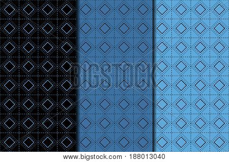 Checkered fabric background. Black and blue seamless pattern. Vector illustration
