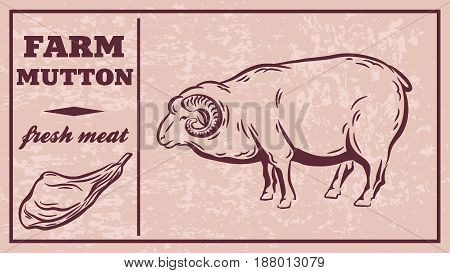 Label of meat products. Mutton. Vector illustration