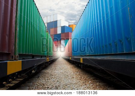 train with container import export goods to custom.