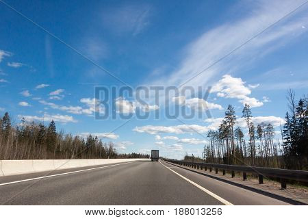 beautiful view of the highway in the sunny summer day