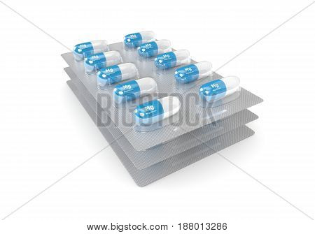 3D Render Of Magnesium Pills Over White