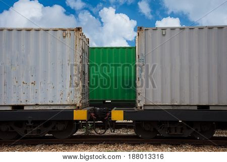 train with container import export box to customer on blue sky.