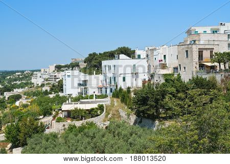 Panoramic view of Cisternino. Puglia. Southern Italy.