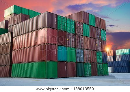 container for shipping import export on sunset.
