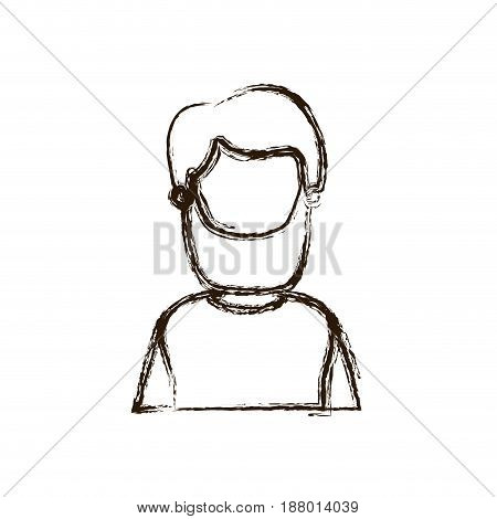 blurred thick silhouette caricature faceless half body bearded man vector illustration