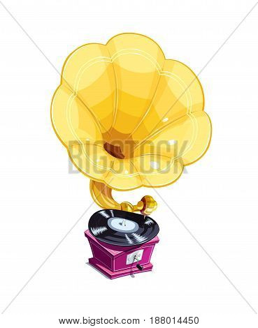 Vintage golden gramophone with vinyl record. Musical Phonograph. Classic Music amplifier. Isolated white background. Vector illustration.