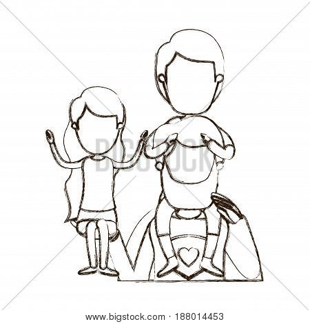 blurred thin contour caricature faceless half body super dad hero with girl on his hand and boy on his back vector illustration