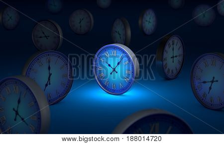 Space and time. Many blue circular clock. Standing Out from the Crowd. Available in high-resolution and several sizes to fit the needs of your project. 3D illustration rendering.