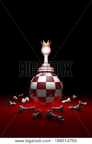 Change of power. Chess composition. The space and time. Relax. Available in high-resolution and several sizes to fit the needs of your project. Background layout with free text space. 3D illustration render