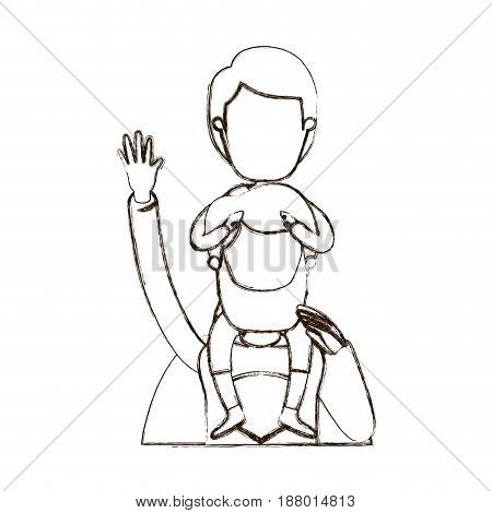 blurred thin contour caricature faceless half body super dad hero with boy on his back vector illustration