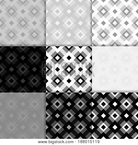 Checkered fabric background. Black and white seamless pattern. Vector illustration