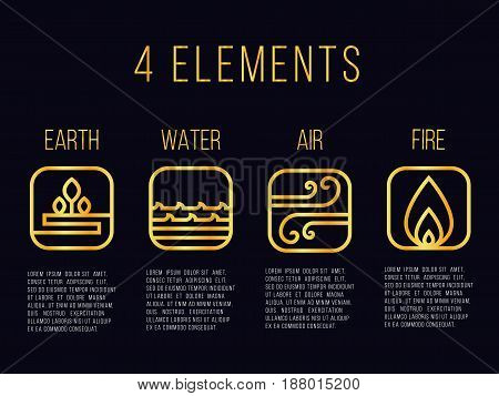 Nature 4 elements line gold abstract icon sign. Water Fire Earth Air. on dark background.