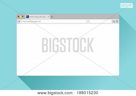 Sample web page in flat style on color background. Internet browser. Vector design object for you project