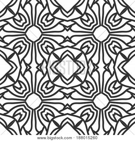 Seamless Floral Geometrical Wallpaper. Black And White Pattern, Vector. Template For Design