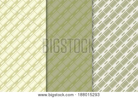 Checkered fabric background. Green olive seamless pattern. Vector illustration