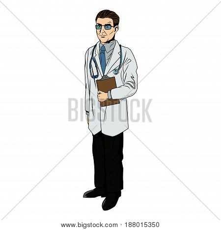 doctor professional holding clipboard and stethoscope vector illustration