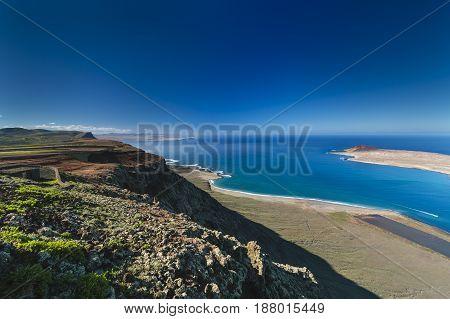 Lanzarote Cliff Coastline View, Spain