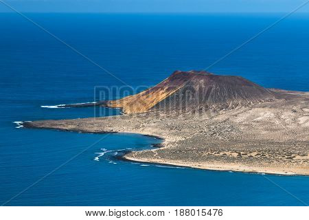 La Graciosa Volcano View In Lanzarote, Spain