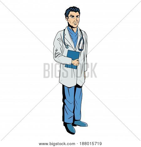 male doctor with lab coat in his office holding a clipboard. vector illustration