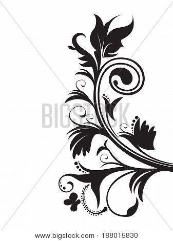abstract artistic creative floral black vector illustration