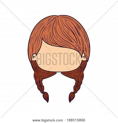 colorful caricature faceless front view cute girl with braids pigtails hairstyle vector illustration