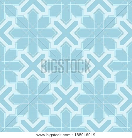 Arabic seamless patterns. Blue ornaments for textile and fabric. Vector illustration