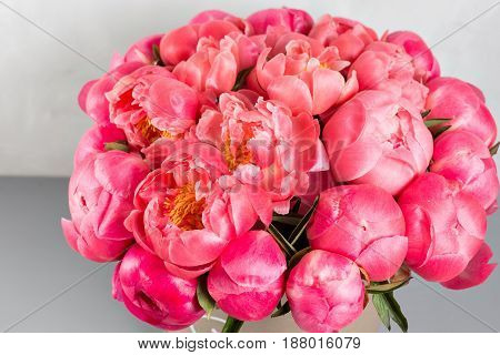 peonies grade Coral Sharm. beautiful mix coral and pink flower bouquet in round box with lid.
