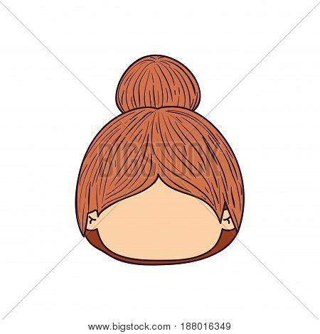 colorful caricature faceless front view cute girl with collected hairstyle vector illustration