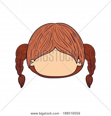 colorful caricature faceless front view cute girl with high braids pigtails hairstyle vector illustration