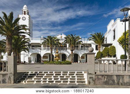 San Bartolome Town Hall In Lanzarote, Spain, Editorial