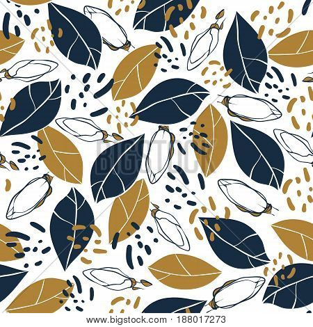 Vector trendy seamless pattern with botanical elements. Hand drawn magnolia buds and leaves in deep blue and mustard colors.