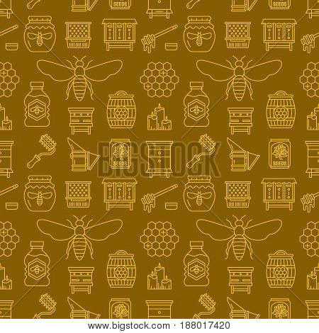 Beekeeping colored seamless pattern, apiculture vector illustration. Apiary thin line icons - bee, beehives, barrel. Cute repeated texture for honey processing business. Yellow, dark color.