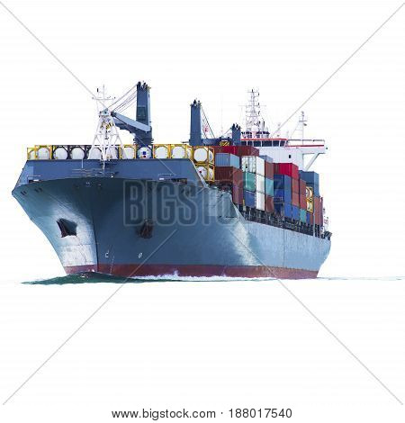 ship with container on white back ground import export.