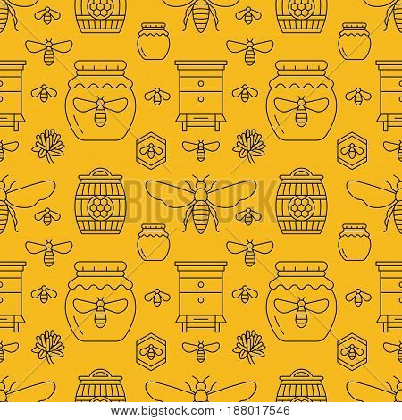 Beekeeping seamless pattern yellow color, apiculture vector illustration. Apiary thin line icons bee, beehive, honeycomb, barrel. Cute repeated texture for honey processing business.