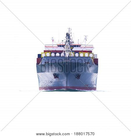 ship with container import export goods on white background.