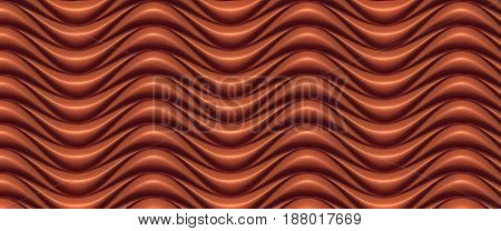Chocolate wave band abstract texture surface pattern. 3d rendering