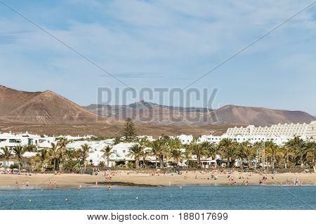Costa Teguise Beach In Lanzarote, Spain, Editorial