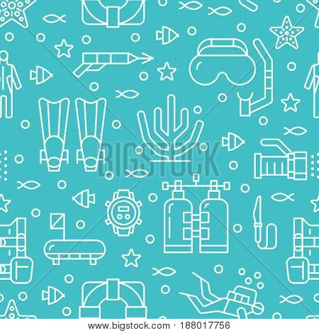 Scuba diving, snorkeling seamless pattern, water sport vector blue background. Summer activity cute repeated wallpaper with spearfishing equipment icons - mask tube, flippers. Good for kids textile.